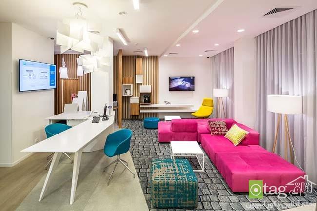 دکوراسیون داخلی اتاق هتل با رنگ های بسیار شاد و متنوع