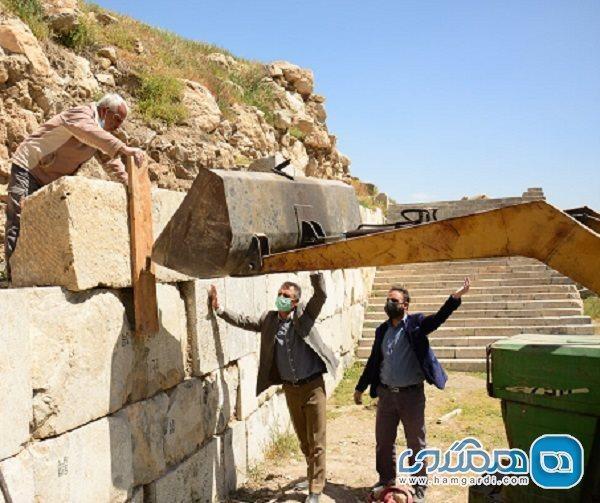 بازسازی و بازسازی دیوار جنوبی معبد آناهیتا آغاز شد